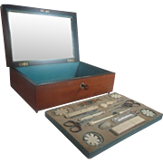 SALE Palais Royal Complete 18pc Wooden Sewing Boxed Set; Antique c1810