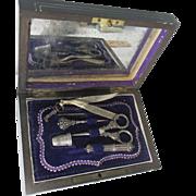 SALE 5pc Silver Sewing Necessaire ETUI in Dark WOOD box; 18th century Original Antique, ...