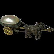 2 GOATs pulling MOP EGG on Wheels. MULTI-FUNCTION, Thimble Salt or Trinket:Original Antique ..
