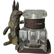 Austrian Cold Painted Bronze Figural Bunny Rabbit & Crystal InkWell ; Antique c19th Century