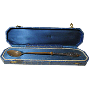 Brass & Silver 2 toned SPOON in Original blue silk lined box; Antique c1700's
