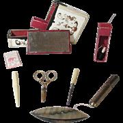 SALE 10pc Ladies leather ETUI Sewing COMPANION BOX c1800 Original Antique