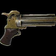 SOLD Antique Pistol GUN Shaped NEEDLE CASE;Brass Original c.1880