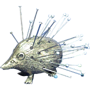 sterling Silver HEDGEHOG or PORCUPINE pin cushion; Original HALLMARKED Antique c1905 by ...