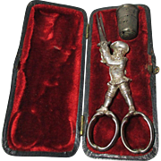 RARE Antique  Gilded Silver Sewing box of a Military Man  Scissors & Thimble set; Original ...