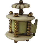 Mother of Pearl complete TAPE MEASURE with columns & brass studs; Antique French c1805