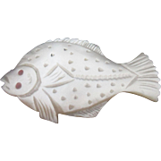 SALE Mother-of-Pearl WINDER shaped like a Flounder Fish; Antique c1800's
