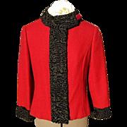 Zelinka-Matlick Red Wool Jacket with Karakul Black Lamb Trim; Exquisite and Classic!