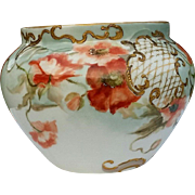 Limoges,Delinieres & Cie,France Jardiniere Antique 19th Century 1896 Artist signed Poppies on