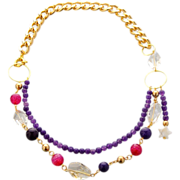 Statement necklace with chain and star charm made of amethyst, agate, crystal, citrine and ...