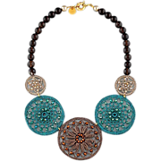 Unconventional statement necklace made of agate, smoky quartz, crystal and metallic fiber ...