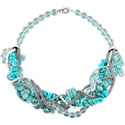 Magnificent blue, silver and white statement necklace made of gemstones: turquoise, imitation