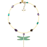 Dragonfly pendant necklace made of gemstones: amethyst, smoky quartz, turquoise, hematite