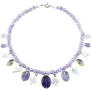 Amethyst collar necklace with mother of pearls and crystal pendants