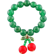 SOLD Cherry bracelet made of gemstones. Green and red bracelet