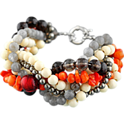 "Multilayer gemstone (natural stones) bracelet ""Autumn"". Orange/ white/ gray/ coral/"
