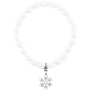 Snowflake charm beaded bracelet with white agate and cubic zirconia. Christmas jewelry. Winter