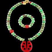 Ladybug charm set (pendant necklace and bracelet) for a baby girl / granddaughter