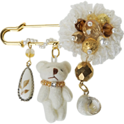 Teddy bear pin brooch with freshwater pearls, crystal and Bohemian glass