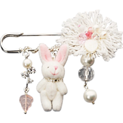 Easter Bunny pin brooch with imitation pearls, mother-of-pearls, crystal and Bohemian glass