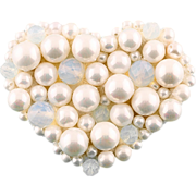 White Heart-shaped brooch made of moonstone and imitation pearls