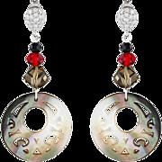 Long`art deco style earrings with mother of pearls. Dangling earrings
