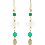 Long green earrings with chrysoprase and mother of pearls four leaf clover. Dangling earrings.