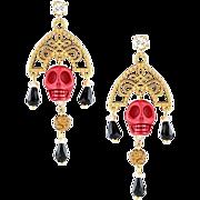 Long Chandelier Kokoshnik Earrings with skulls. Red,white, blue. Drop earrings. Glam rock ...