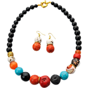 Ethnic style black and red necklace (set): Murano glass, lava rock, Coral, Turquoise, Czech ..