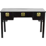 SALE Ebonized Teak Chinese Console Table with Brass