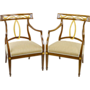 Vintage Modern Regency Chairs with Gilt Trim-Baker Style