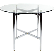 SALE Chrome and Brass 42 inch Round Table