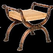 Regency Carved X-Frame Stool - Curule Form