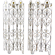 Vintage Scrolled Iron Screens - Pair