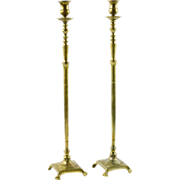 Tall Brass Pair of Candlesticks, 19th C