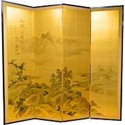 Landscape painted on gilded silk - Chinese