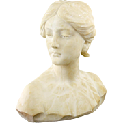 Alabaster Sculpture of Young Woman, 19th c.