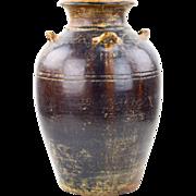 Large Brown Glazed Khmer (Thai) Urn