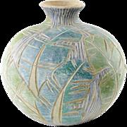 Green Art Pottery Vase - Incised Leaf Design