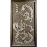 Large Chinese Embroidery of Dragons - Neutral Tones, Great Texture