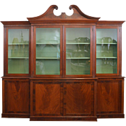 19thc Mahogany Breakfront Bookcase - American, Architectural