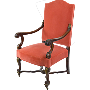French Chair, Louis XII Style in Salmon Velvet