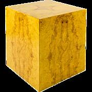 SALE Mid Century Burl Wood Cube Table