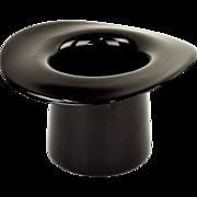 Vintage Black Glass Top Hat Wine Cooler or Vase - Hand Blown