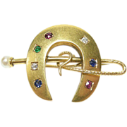 Victorian 14k Good Luck Horseshoe and Crop Pin Ruby Diamond Pearl Sapphire and Emerald