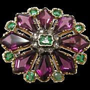 Georgian 18k Rhodolite Garnet Emerald and Diamond Pin Pendant