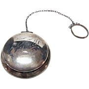 Antique Sterling Silver Compact w Finger Ring & Powder Puff Engraved Lucille