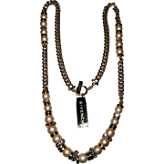Vintage GIVENCHY Faux Pearl and Rhinestone Toggle Necklace