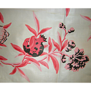 SOLD Fab Vintage Cotton Pomegranate and Floral Print Flowers Fruit 16 yards long