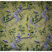 SOLD Fab Vintage Waverly Cotton Fabric Remnant Mandarin Garden Pagoda Temple Tree Bird Motif 4